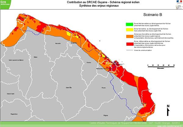 Carte des zones favorables au développement de l'éolien en Guyane