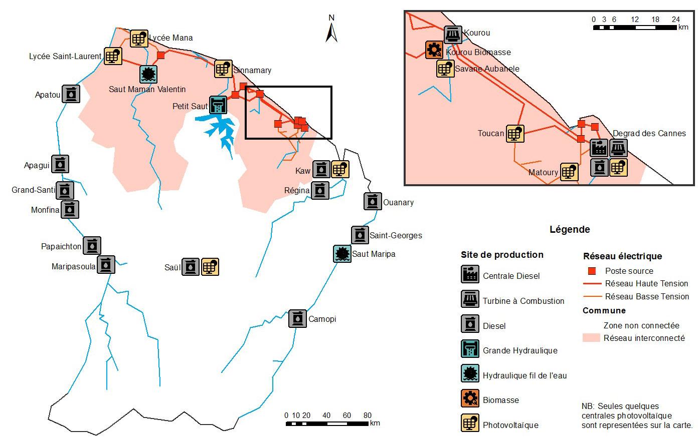 Carte des réseaux électriques en Guyane