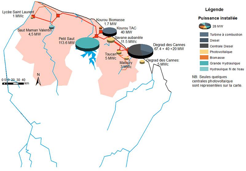 Schéma des centrales de production d'électricité renouvelable et fossile sur le littoral guyanais. Voir descriptif détaillé ci-après