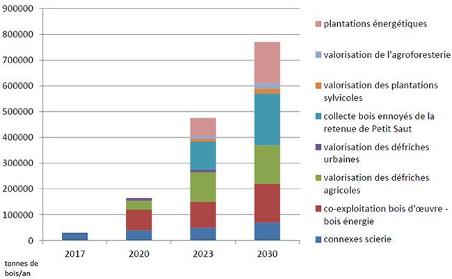 Gisements biomasse mobilisables en tonnes de bois par an. Voir descriptif détaillé ci-après