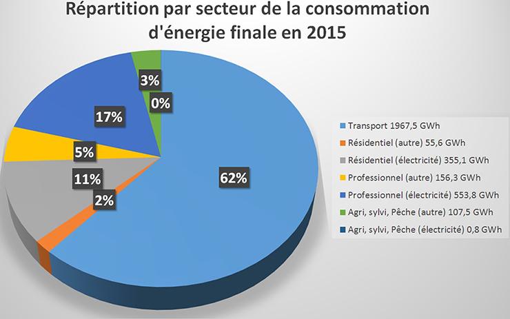 Schéma de la répartition par secteur de la consommation d'énergie finale en 2015. Voir descriptif détaillé ci-après