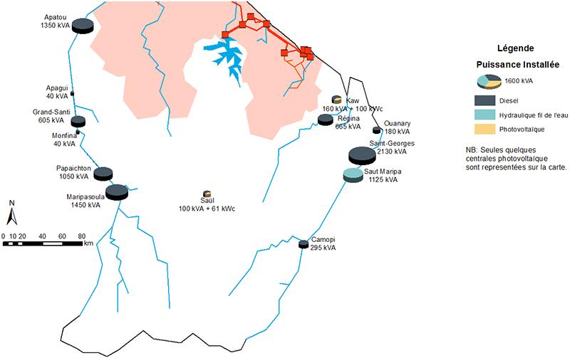 Carte des centrales électriques des communes de l'intérieur de la Guyane. Descriptif détaillé ci-après