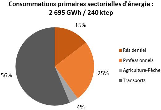 Schéma des consommations primaires sectorielles d'énergie en Guyane. Voir descriptif détaillé ci-après